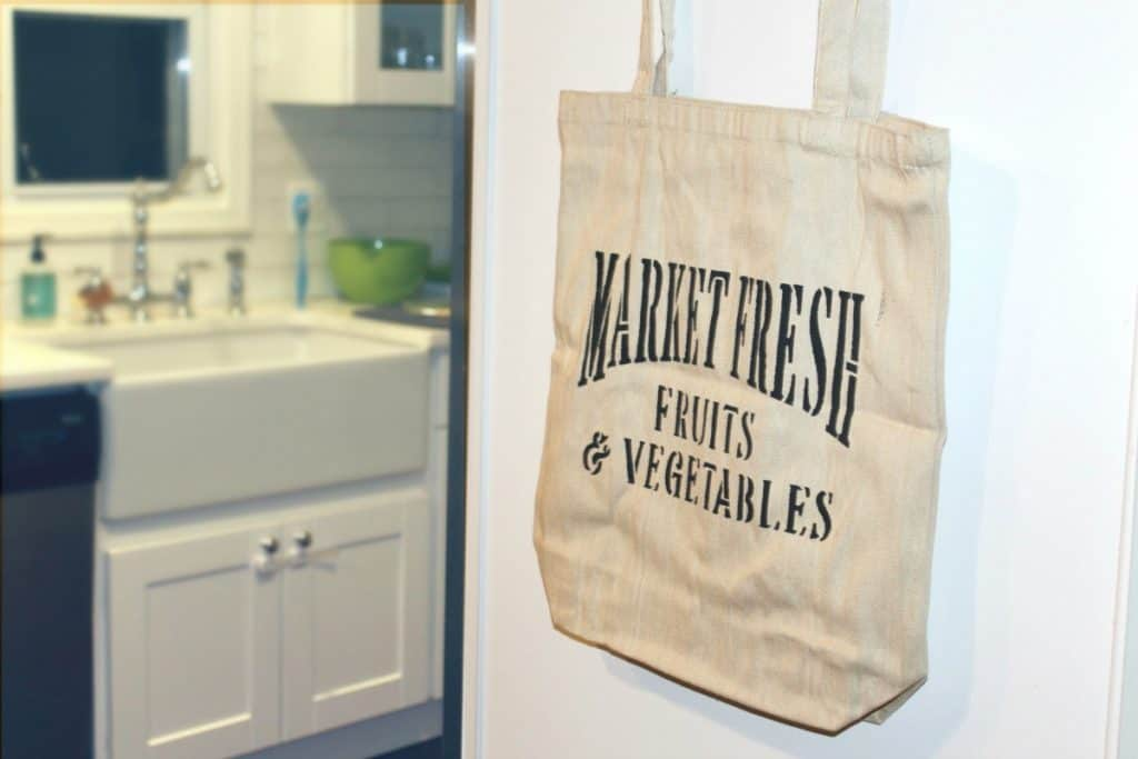 DIY Stenciled Canvas Bag Market Fresh