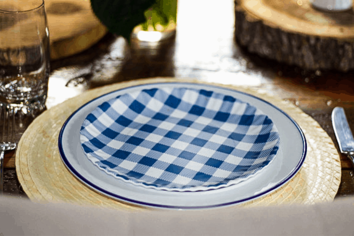 blue gingham plates